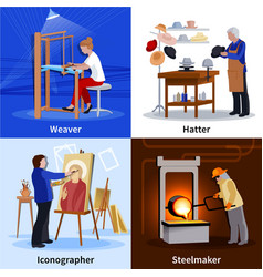 contemporary craftspeople 4 flat icons square vector image vector image