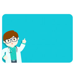 Doctor explains at the blank board vector