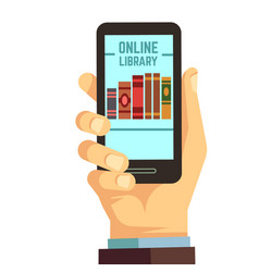 hand holding smartphone with books e-reading vector image vector image