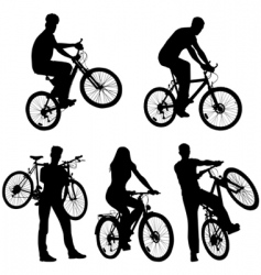 lots of people bicycles set vector image vector image