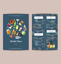 menu template with alcoholic drinks in vector image vector image