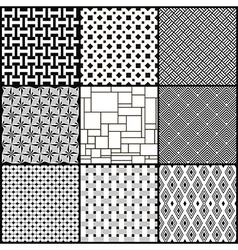 Set of nine black and white geometric seamless vector image vector image