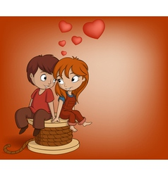 Boy and girl are sitting vector image
