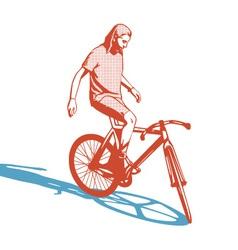 Girl cyclist vector image