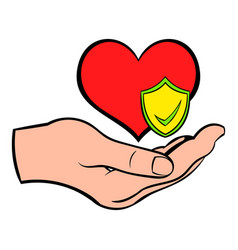 hand holding red heart icon cartoon vector image