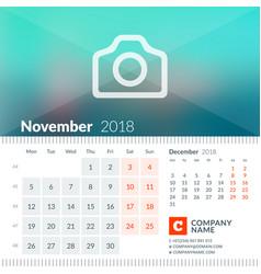 november 2018 calendar for 2018 year week starts vector image vector image