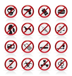 prohibition sign and icons vector image