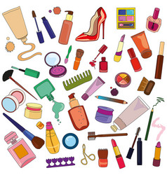 set of cosmetics vector image vector image