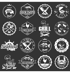 set of seafood labels and butcher shop labels vector image