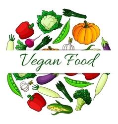 Vegan food emblem with round shape of vegetables vector image vector image