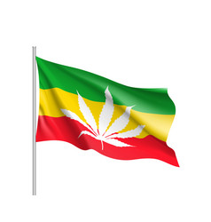 white cannabis leaf red on rasta flag background vector image