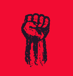 fist held high in protest hand raised up vector image vector image