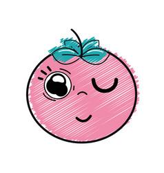 Kawaii nice funny tomato vegetable vector