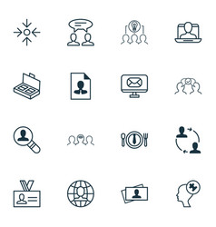set of 16 business management icons includes open vector image