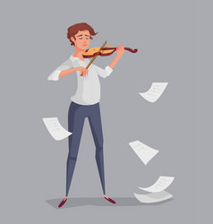 the young man is playing the violin vector image vector image