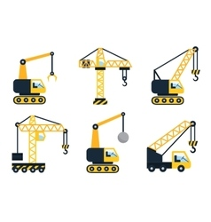 Construction icons Types of cranes Flat vector image