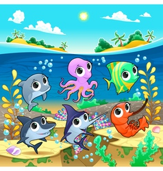 Funny marine animals in the sea vector image
