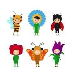 Kids in insect and flower dresses vector image