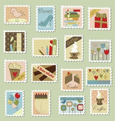 Large set of postage stamps vector image