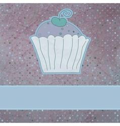 Retro card cupcake vector image vector image
