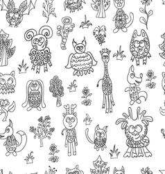 seamless pattern fantastic zoo vector image