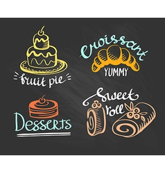 Set of labels logos for restaurant menu on the vector image vector image