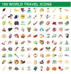 100 world travel icons set cartoon style vector image
