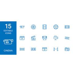 15 cinema icons vector image