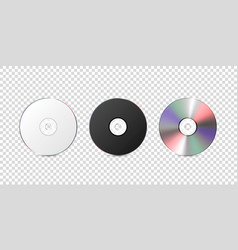 3d realistic white black and multicolor cd vector image