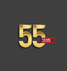 55 years anniversary simple design with golden vector