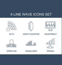6 wave icons vector
