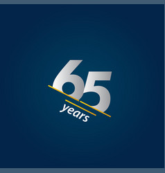 65 years anniversary celebration blue and white vector
