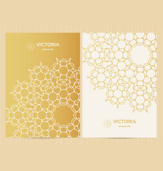 A4 format cards decorated with mandala in golden vector