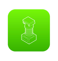 Ancient ionic pillar icon green vector
