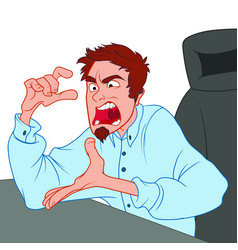 Angry man working in the office and screaming at vector