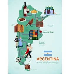 Argentina Tourists Attractions Map Flat POster vector image