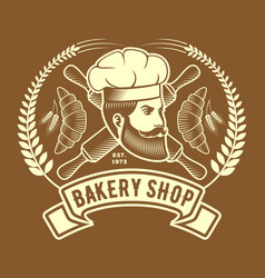 bakery or bread shop logo emblem with chief and vector image
