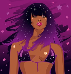 Black African disco woman with curly hair vector
