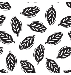 Black and white linocut leaves seamless pattern vector