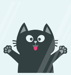 Black cat face head tongue paw print silhouette vector