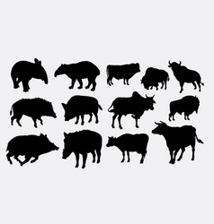 boar tapir and cow silhouette vector image