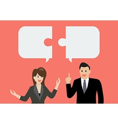 Business man and businesss woman in conversation vector