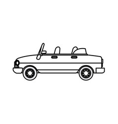 Car transport convertible gasoline comic line vector