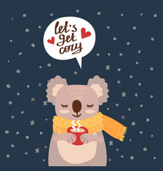 christmas card with cute koala vector image