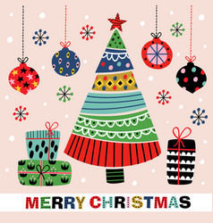 christmas card with decorative tree and gifts vector image