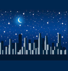 City at night with the moon and stars vector