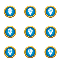 Click care icons set flat style vector