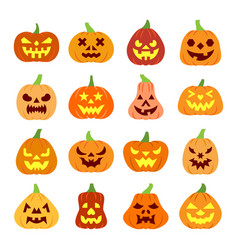 colorful carving face halloween pumpkin icon set vector image