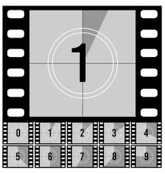 Countdown frames retro film movie timer universal vector