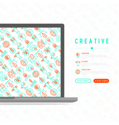 Creative concept with thin line icons vector